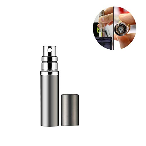 Refillable Perfume Bottle Atomizer for Travel, Yeejok Portable Easy Refillable Perfume Spray Pump Bottle for Men and Women with 5ml Pocket Size-Silver