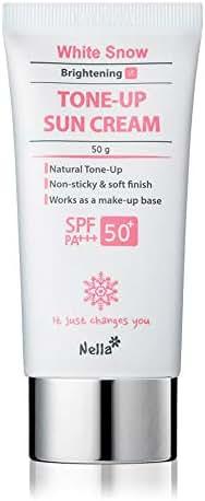 Nella Tone Up Suncream, Brightening, Non-Greasy, Broad Spectrum UVA UVB Protection, PA+++ /SPF 50+, Korean Beauty, 1.76 oz