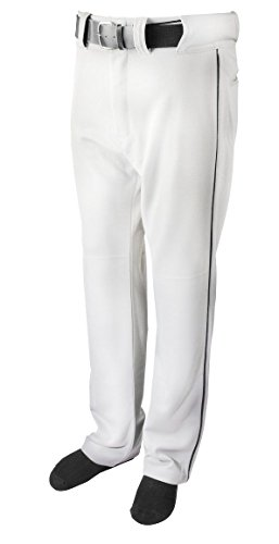 New Martin Baseball Softball White Belt Loop Pants w Black Piping Youth XS-XL (L)