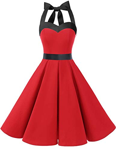 DRESSTELLS 50s Retro Halter Rockabilly Polka Dots Audrey Dress Cocktail Dress Red Black XL