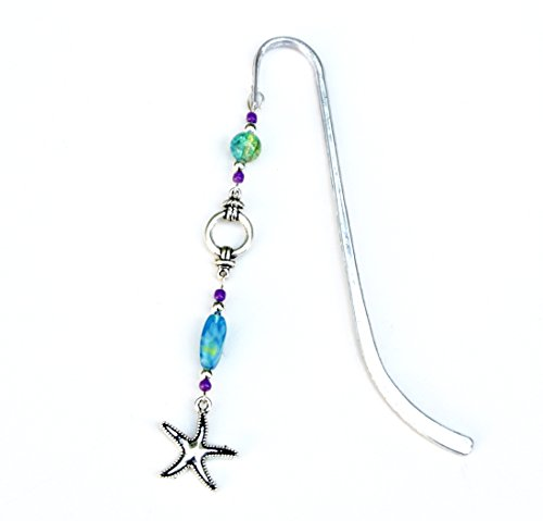 (Starfish Charm Bookmark with Nautical Rope and Blue Green Beads)