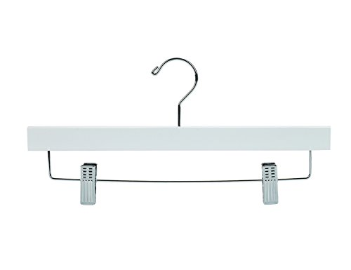 Nature Smile Solid Lotus Wood Deluxe Wooden Pants Hangers Bottom Hanger Jeans Hanger Skirt Hanger with 2-Adjustable Clips Anti-rust Hook Pack of 10 (White) by Nature Smile (Image #1)