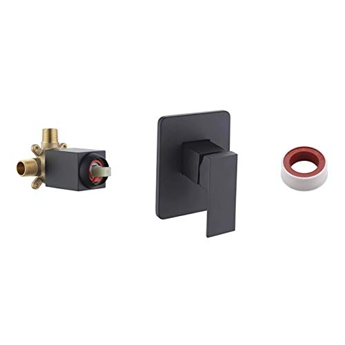 KES BRASS Pressue Balance Shower Faucet ANTI-SCALD SOLID Stainless Steel Trim Plate Square Concealed Bathroom Showering System, Matte Black, LB6711-BK