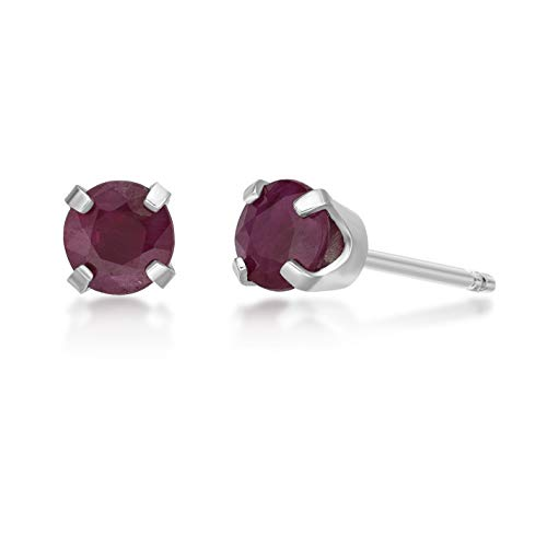 - .68 CT Round 4MM Red Ruby 14K White Gold Women's Stud Birthstone Earrings