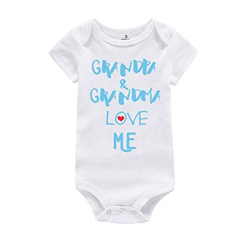 Amberetech Baby Boy Girl Outfit Grandpa Grandma Love Me Print Newborn Baby Jumpsuit Clothes (Grandpa Grandma - Blue, Tag 6 (for 3-6 Months))