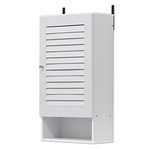 Furinno 16072WH Indo Wide Wall Cabinet, 15.8 Inch, White (Louver Door Bathroom Wall Cabinet)