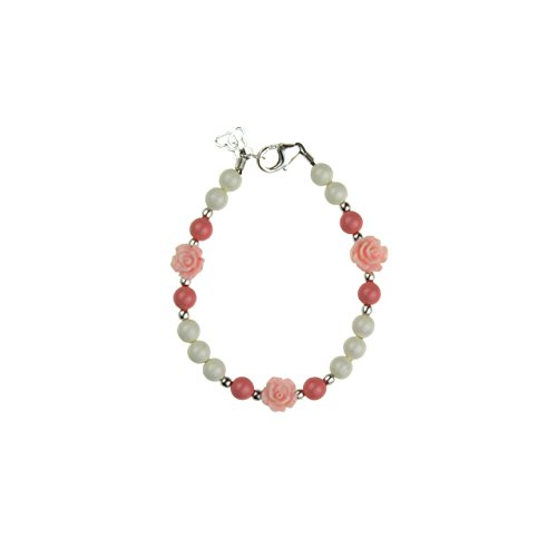 Crystal Dream Elegant Scattered Flowers with Coral and White Swarovski Simulated Pearls Keepsake Baby Girl Bracelet (BSFCP_M+)