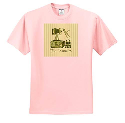 (3dRose Russ Billington Designs - The Traveller- Vintage Trunk, Binoculars, Camera and Map Compasses - T-Shirts - Toddler Light-Pink-T-Shirt (2T) (ts_291556_47) )