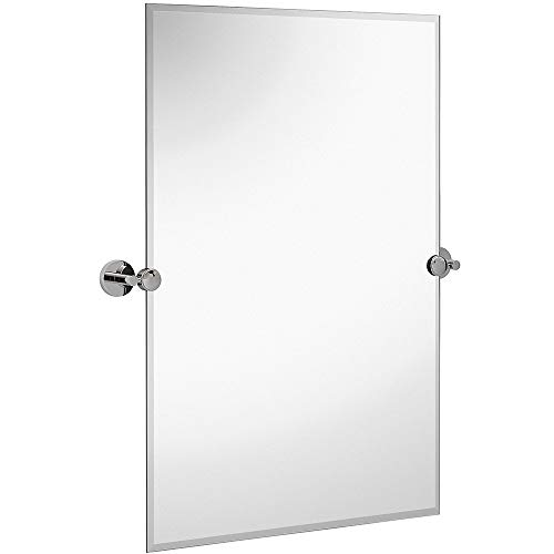 Hamilton Hills Large Pivot Rectangle Mirror with Polished Chrome Wall Anchors | Silver Backed Adjustable Moving & Tilting Wall Mirror | 20in x 30in Inches (Renewed)