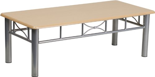 Designer Rounded Edge Laminate Home Office Reception Room Coffee Tables 2-Colors #JB6C (Natural Finish)