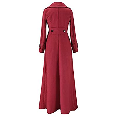 NREALY Jacket Women's Winter Lapel Slim Coat Trench Jacket Long Parka Overcoat Outwear at Women's Clothing store