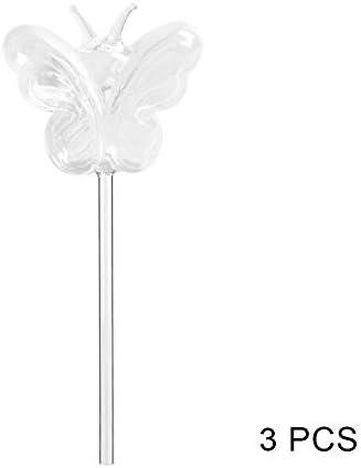 Genlesh Selbstbewässernde Globe Pflanze Wasser Blumenzwiebeln Tierform Glas Home Decor Stil: 3 Schmetterlinge.