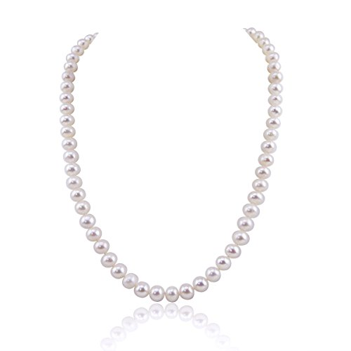 White 7.5-8.0mm A Quality Freshwater Cultured Pearl Necklace with Rhodium Plated Base Metal Clasp