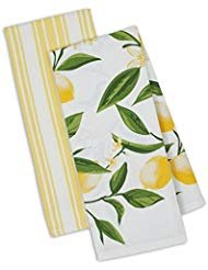 - DII Kitchen Dish Towel Set 2 Lemon Bliss Yellow Green Lemon Print & Yellow Stripe