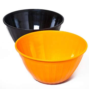 """Halloween Orange & Black Party Serving Bowls (Pack of 2, Size: 12"""") Perfect Party Serving Bowls & Table Supply"""
