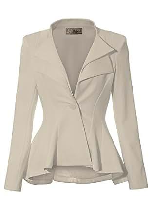 Women Double Notch Lapel Office Blazer JK43864 1073T STONE Small