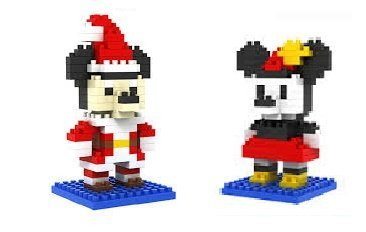 Loz DIY Diamond Blocks 2 sets in 1 Mini Figures 190pcs Mickey Mouse and 180pcs Mini Mouse Dressed Up As Santa Cute Nano-Blocks Toy Set -