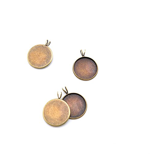120 Pieces Jewelry Making Charms Findings Antique Bronze Brass Fashion Jewellery Wholesale Supplies Pendant Lots Bulk Supply U8ZS6 Round Cabochon Setting 18MM