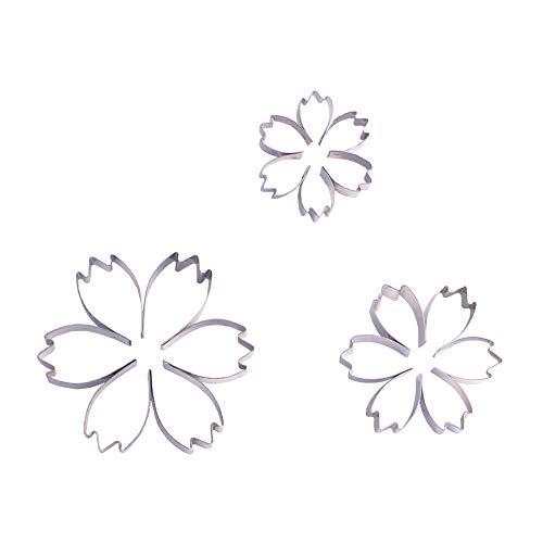 ESCORA 2 Inch Small Cosmos Flower Cookie Cutter Set - 3 Piece -Stainless Steel - Sugarcraft Cutter