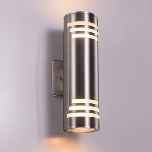 Outdoor Wall Light Fixture, UL Listed Exterior Wall Mounted Sconce, IP54 Weatherproof 304 Stainless Steel, Up/Down Cylinder for Garden & Patio For Sale