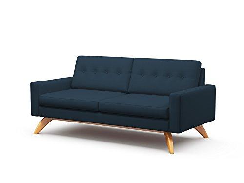 TrueModern Luna Condo Sofa with Fabric, Honey Finish, 78″, Charcoal