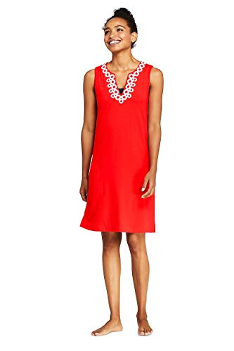 Lands' End Women's Cotton Jersey Embelished Sleeveless Tunic Dress Swim Cover-up, M, Fiery Red/White