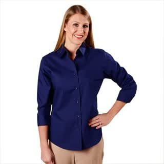 Foxcroft wrinkle free cvc poplin 3 4 sleeve shirt shaped for Wrinkle free dress shirts amazon