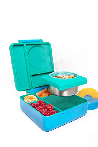 OmieBox Bento Box for Kids | Bento Box Container with Thermos, Insulated and Leak Proof for Hot & Cold Food - 3 Compartments, Two Temperature Zones - (Meadow) (Single)