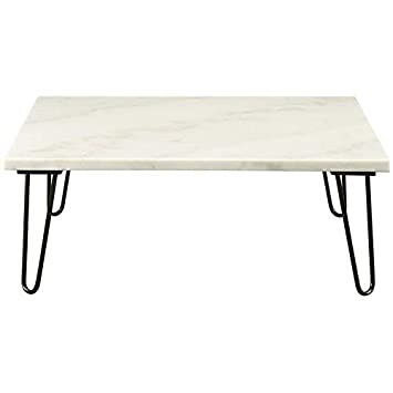 Acme Telestis 40 Square Marble Top Coffee Table in White and Black