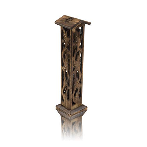 Wooden Incense Stick & Cone Burner Holder Tower Large Organic Eco Friendly Ash Catcher Agarbatti Holder Rustic Style Hand Carved For Meditation Yoga Aromatherapy Home Fragrance Products