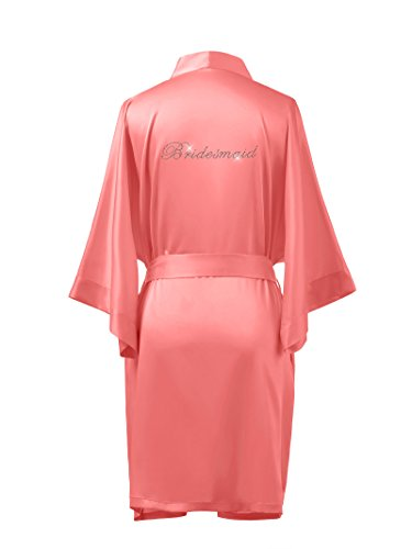 AWEI AW Bridal Personalized Short Satin Kimino Robe Women Bathrobe Sleepwear Bridesmaid Robes For Wedding Party, Coral Pink L//ZS1604CPP03A//