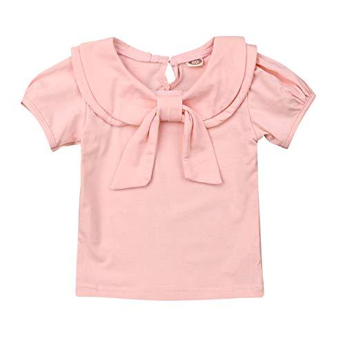 Toddler Kids Baby Girl Cute Bowknot Peter Pan Collar Long Sleeve Basic Plain T-Shirt Tops Clothes (2-3 Years, Short Sleeve Pink)]()