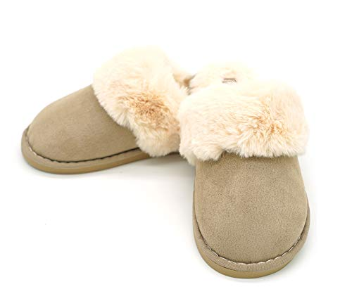 House Fuzzy Khaki Navoku Memory Bedroom Slippers Foam Shoes Slip on Women's HnwXxAq1