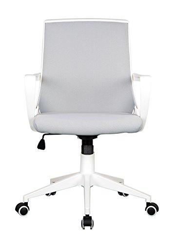 SixBros. Chaise de Bureau Tissu Gris/Blanc 0722M/2240