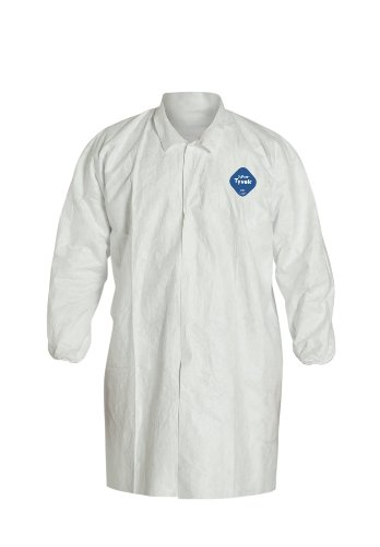 Tyvek Lab Coat - DuPont Tyvek 400 TY211S Disposable Extra Long Frock with Elastic Cuff, White, Medium (Pack of 30)