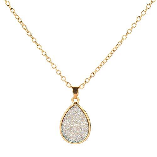 litymitzromq Gold Tone Necklace for Women Girls, Women Simple Water-drop Shape Shiny Surface Resin Pendant Necklace…