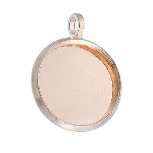 - 10 pcs. Rose Gold Plated Circle Round Bezel Cabochon Pendant Tags Trays - 12mm Glue Pad - 18x14mm - Single Loop - Hole Size: 1.8mm