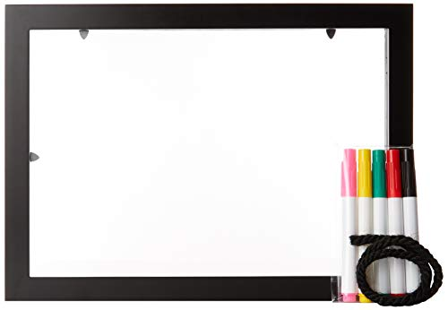 Flower Board Dry Erase (Customizable 3D Floating Frame with Pens – Unique Double Glass Float Frame to Display Photos, Messages and Pressed Flowers – Dry Erase Sign Board)