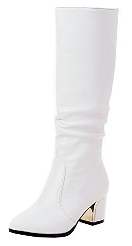 SHOWHOW Women's Daily Winter Wide Calf Waterproof Chunky Heel Booties White 8.5 B(M) US]()