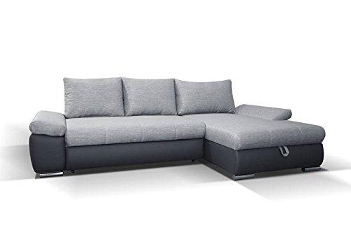 Polstermöbel Sergio in grau mit Staukasten und Bettfunktion – Abmessungen: 285 x 171 cm (L x B) - Ottomane: Rechts