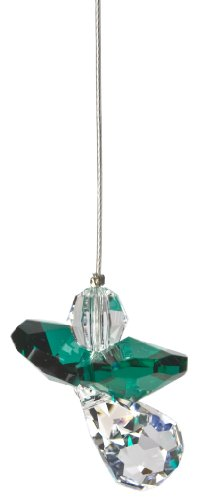 (Woodstock Chimes Crystal Guardian Angel Suncatcher, Emerald (May))
