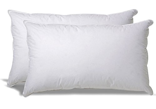 White typical Down-Alternative smooth Bed Pillows for Sleeping - 100% Cotton Pillow Cover - Hypoallergenic Dust Mite protection - No Flattening - King Size - 2-Pack
