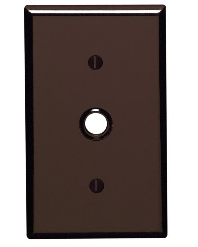 Telephone Gang 1 Leviton (Leviton 85018 1-Gang .406 Inch Hole Device Telephone/Cable Wallplate, Standard Size, Thermoset, Strap Mount, Brown)