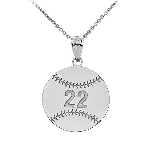Sports Charms 925 Sterling Silver Personalized Baseball/Softball Necklace with Your Name and Number, 16