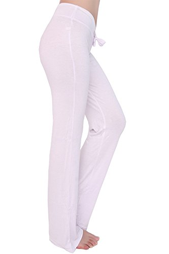 Coulisse Bozevon Gamba Palestra Donna Yoga Pantaloni Jogging Casual Per Allenamento Da Con Bianca Dritti gr8Tgq