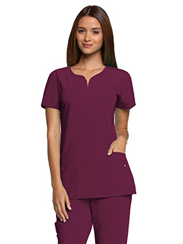 Grey's Anatomy Signature Women's 2121 2 Pocket Notch Neck Scrub Top- Wine- (Greys Anatomy 2 Pocket)