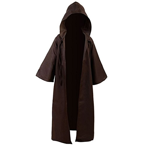 Amayar TUNIC Hooded Robe Cloak Knight Fancy Cool Cosplay Costume Brown Kids M]()