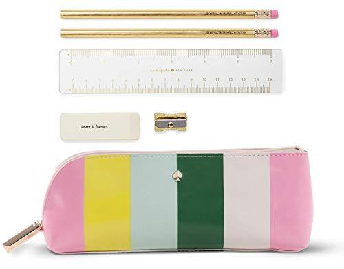 (Kate Spade New York Pencil Case Including 2 Pencils, Sharpener, Eraser, and Ruler School Supplies (Brand Stripe))