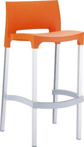 ATC Domenica Ergonomic All-Weather Resin Modern Barstool, Orange (Pack of 4)