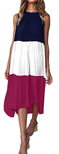 PRETTYGARDEN Women's Summer Sleeveless Color Block Patchwork Pleated Elastic Crew Neck Loose Midi Dress (Purple, Large)